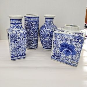 4 Blue & White Ceramic Decorative Jars